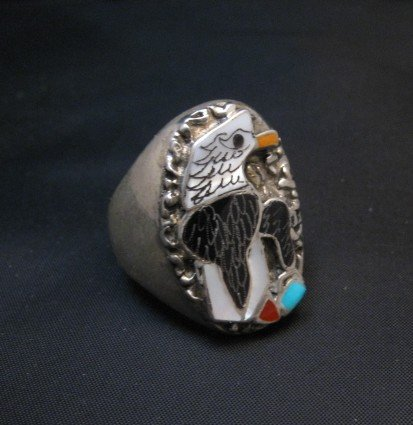 Image 1 of Zuni Multistone Etched Inlay Eagle Ring sz11
