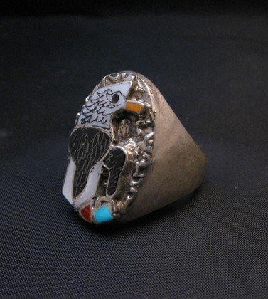 Image 2 of Zuni Multistone Etched Inlay Eagle Ring sz11