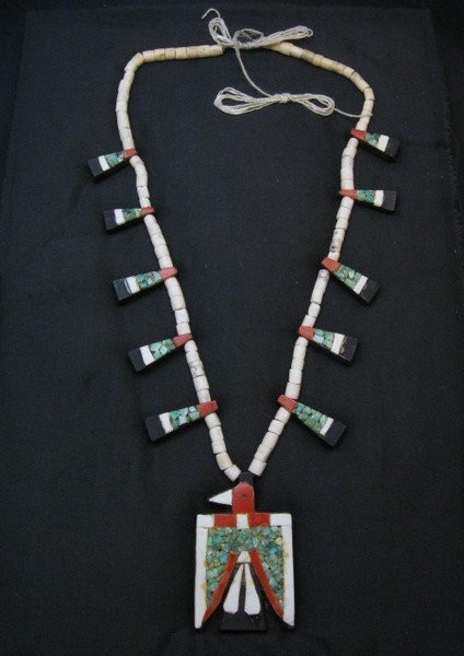 Image 0 of Vintage Santo Domingo Inlaid Depression Era Thunderbird Necklace