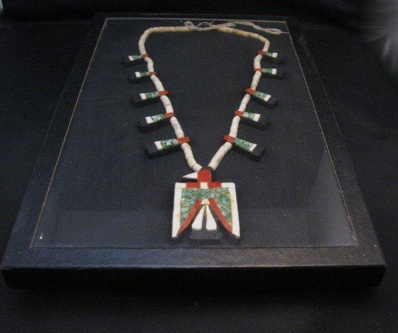 Image 8 of Vintage Santo Domingo Inlaid Depression Era Thunderbird Necklace