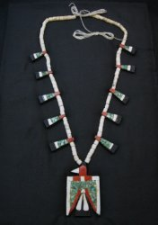 Vintage Santo Domingo Inlaid Depression Era Thunderbird Necklace