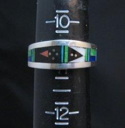 Narrow Jim Harrison Navajo Multistone Inlay Silver Ring sz11