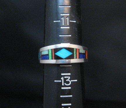Image 1 of Jim Harrison Navajo Multistone Inlay Mens Ring sz12-1/4
