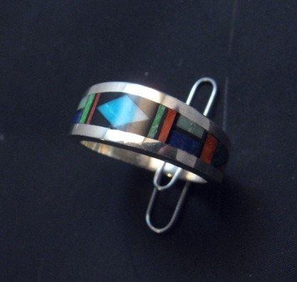 Image 2 of Jim Harrison Navajo Multistone Inlay Mens Ring sz12-1/4