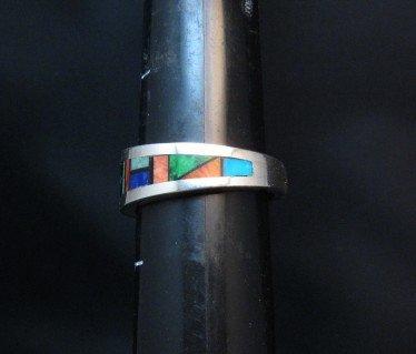 Image 3 of Jim Harrison Navajo Multistone Inlay Mens Ring sz12-1/4
