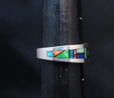 Image 4 of Jim Harrison Navajo Multistone Inlay Mens Ring sz12-1/4