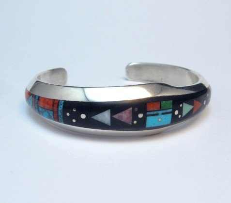 Image 1 of Jim Harrison Navajo Native American Inlaid Multistone Bracelet, 6-1/16