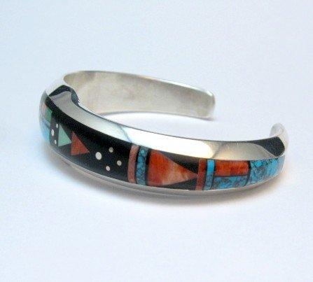 Image 2 of Jim Harrison Navajo Native American Inlaid Multistone Bracelet, 6-1/16