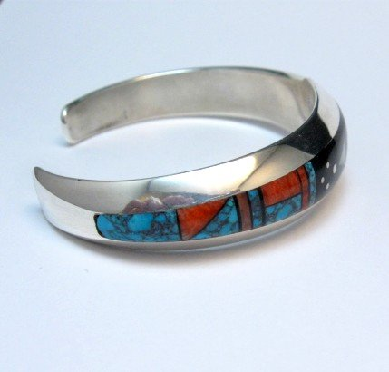 Image 3 of Jim Harrison Navajo Native American Inlaid Multistone Bracelet, 6-1/16