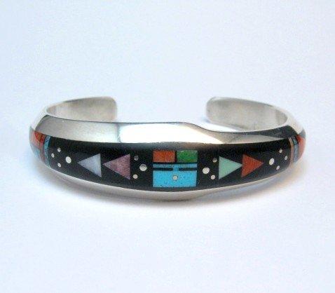 Image 5 of Jim Harrison Navajo Native American Inlaid Multistone Bracelet, 6-1/16