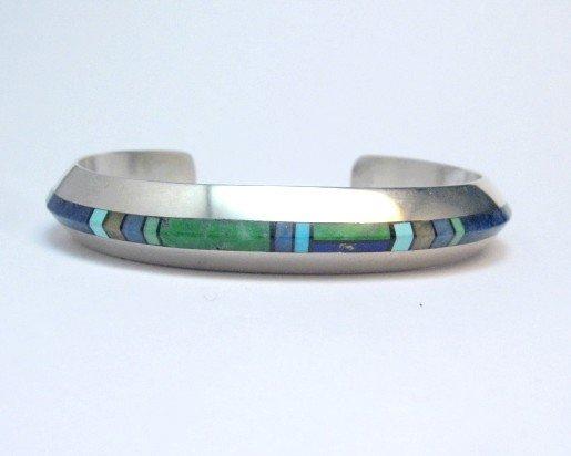 Image 2 of Narrow Jim Harrison Navajo Multistone Inlay Silver Bracelet, 6-7/16
