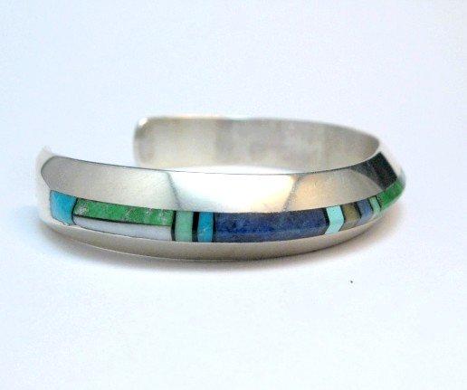 Image 3 of Narrow Jim Harrison Navajo Multistone Inlay Silver Bracelet, 6-7/16
