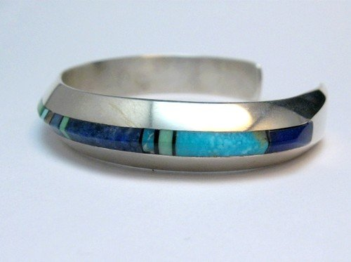 Image 4 of Narrow Jim Harrison Navajo Multistone Inlay Silver Bracelet, 6-7/16