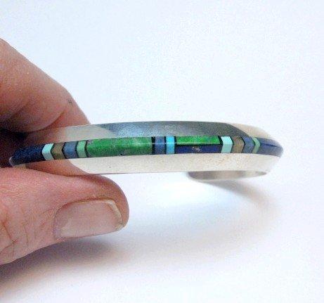Image 5 of Narrow Jim Harrison Navajo Multistone Inlay Silver Bracelet, 6-7/16
