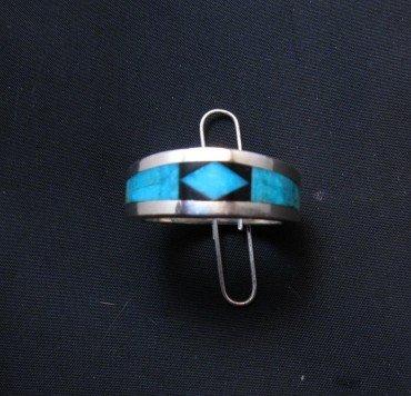 Image 0 of Narrow Jim Harrison Navajo Turquoise Jet Inlaid Ring sz10