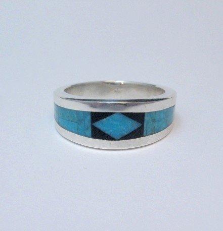 Image 2 of Narrow Jim Harrison Navajo Turquoise Jet Inlaid Ring sz10