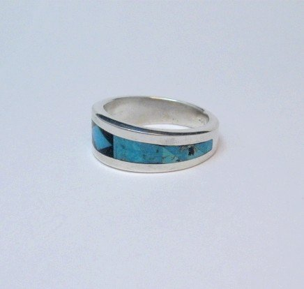 Image 3 of Narrow Jim Harrison Navajo Turquoise Jet Inlaid Ring sz10