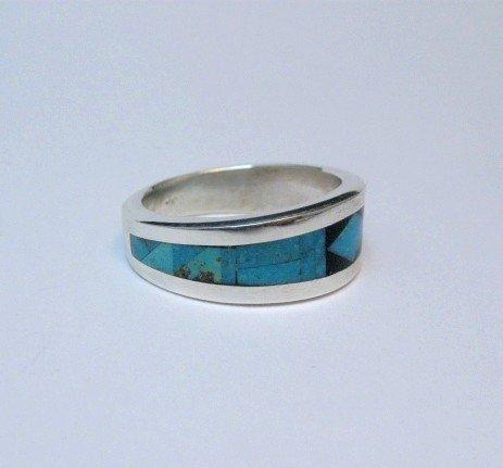 Image 4 of Narrow Jim Harrison Navajo Turquoise Jet Inlaid Ring sz10