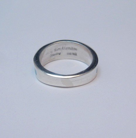 Image 6 of Narrow Jim Harrison Navajo Turquoise Jet Inlaid Ring sz10
