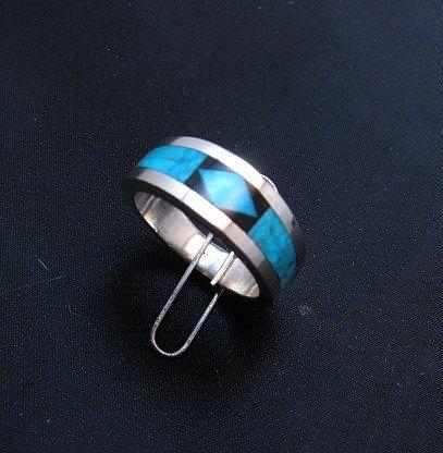 Image 1 of Narrow Jim Harrison Navajo Turquoise Jet Inlaid Ring sz10