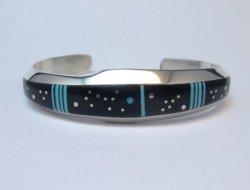 Jim Harrison Navajo Turquoise Jet Starry Night Sky Bracelet, 7