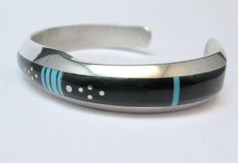 Image 1 of Narrow Jim Harrison Navajo Turquoise Jet Bracelet, 6-3/8