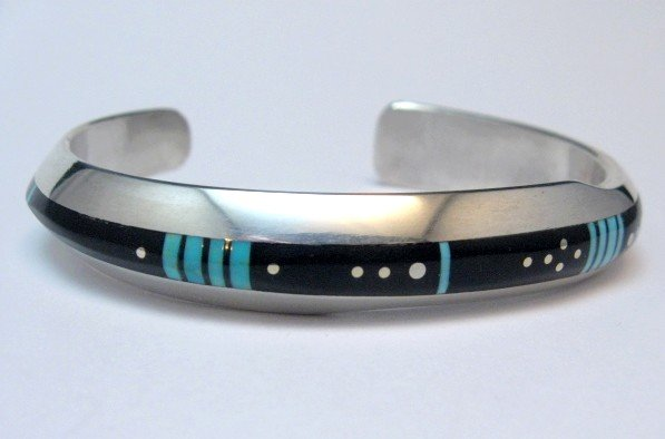Image 3 of Narrow Jim Harrison Navajo Turquoise Jet Bracelet, 6-3/8