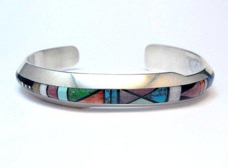 Image 4 of Narrow Jim Harrison Navajo Multistone Inlay Contemporary Bracelet, 6-3/4