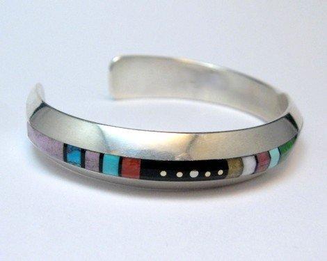 Image 1 of Narrow Jim Harrison Navajo Multistone Inlay Contemporary Bracelet, 6-3/4