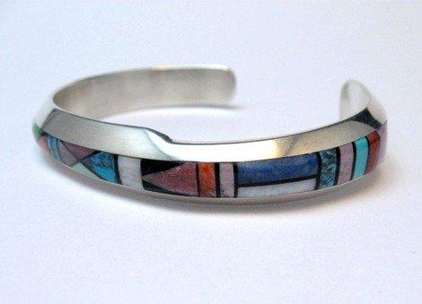 Image 3 of Narrow Jim Harrison Navajo Multistone Inlay Contemporary Bracelet, 6-3/4