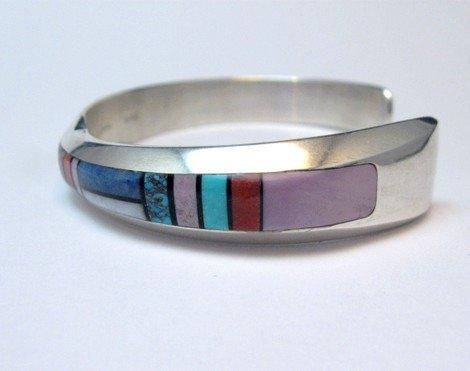 Image 2 of Narrow Jim Harrison Navajo Multistone Inlay Contemporary Bracelet, 6-3/4