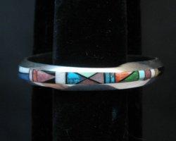 Narrow Jim Harrison Navajo Multistone Inlay Contemporary Bracelet, 6-3/4