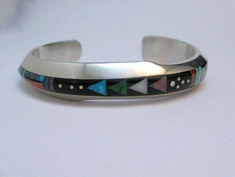 Image 1 of Jim Harrison Navajo Native American Multigem Inlay Bracelet, 5-7/8