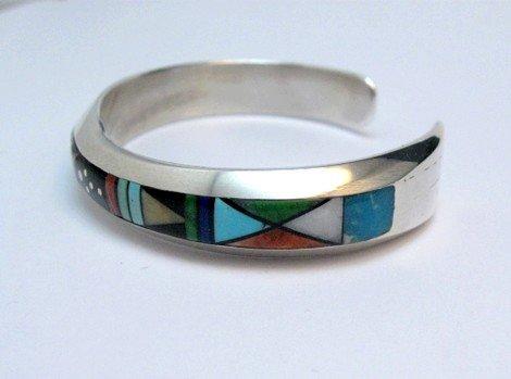 Image 2 of Jim Harrison Navajo Native American Multigem Inlay Bracelet, 5-7/8