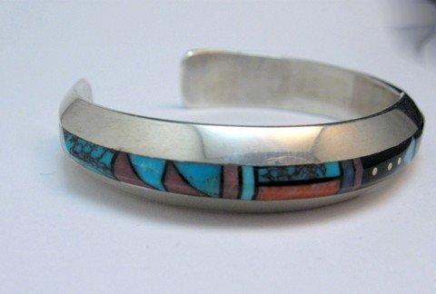 Image 3 of Jim Harrison Navajo Native American Multigem Inlay Bracelet, 5-7/8