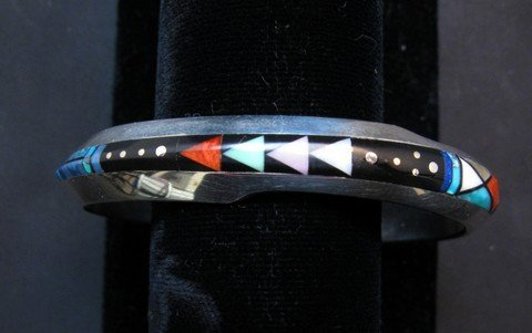 Image 0 of Jim Harrison Navajo Life Lines Multigem Inlay Bracelet, 6-7/16