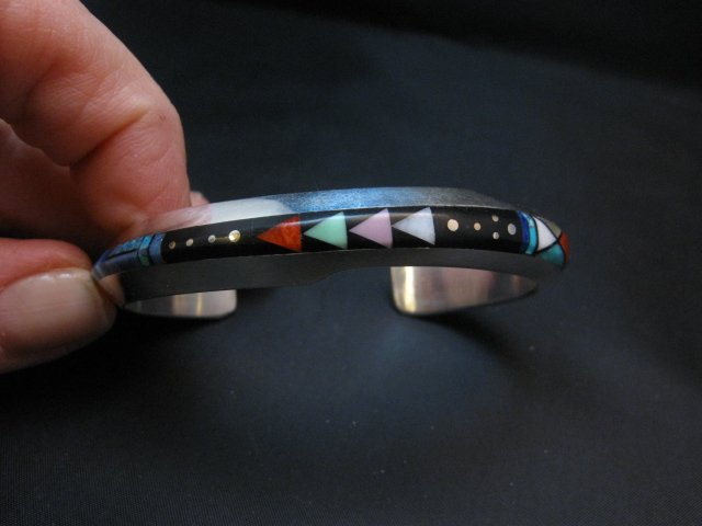 Image 5 of Jim Harrison Navajo Life Lines Multigem Inlay Bracelet, 6-7/16