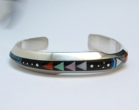 Image 1 of Jim Harrison Navajo Life Lines Multigem Inlay Bracelet, 6-7/16