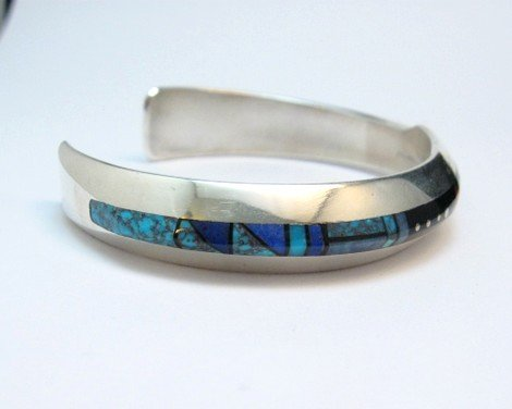 Image 2 of Jim Harrison Navajo Life Lines Multigem Inlay Bracelet, 6-7/16