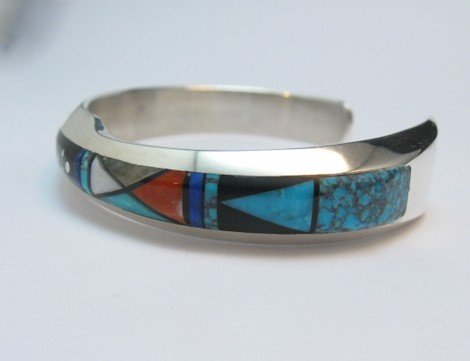 Image 3 of Jim Harrison Navajo Life Lines Multigem Inlay Bracelet, 6-7/16