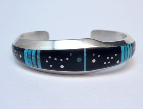 Image 0 of Jimmie Harrison Navajo Turquoise Jet Inlaid Night Sky Bracelet, 6-1/8