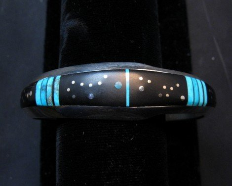 Image 3 of Jimmie Harrison Navajo Turquoise Jet Inlaid Night Sky Bracelet, 6-1/8