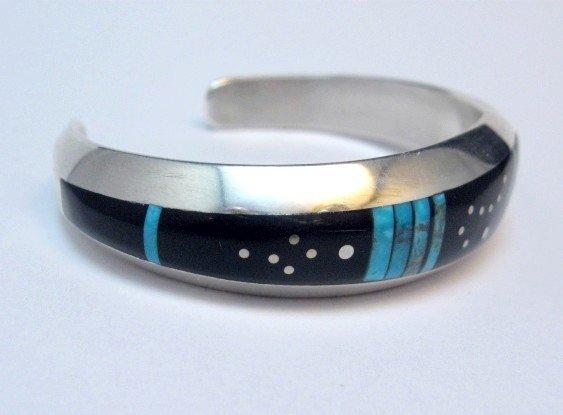 Image 1 of Jimmie Harrison Navajo Turquoise Jet Inlaid Night Sky Bracelet, 6-1/8
