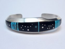 Jimmie Harrison Navajo Turquoise Jet Inlaid Night Sky Bracelet, 6-1/8