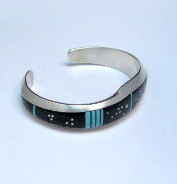 Image 1 of Jim Harrison Navajo Inlaid Black Night Sky Bracelet, 5-13/16