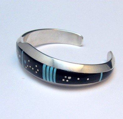 Image 2 of Jim Harrison Navajo Inlaid Black Night Sky Bracelet, 5-13/16