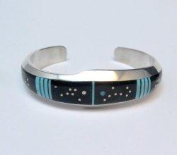 Jim Harrison Navajo Inlaid Black Night Sky Bracelet, 5-13/16