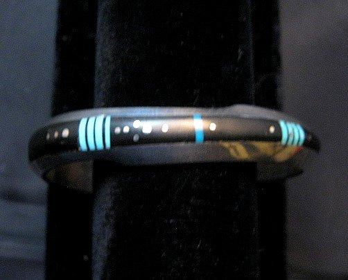 Image 1 of Narrow Jim Harrison Navajo Native American Turquoise Jet Bracelet, 6-1/16
