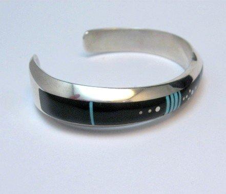 Image 3 of Narrow Jim Harrison Navajo Native American Turquoise Jet Bracelet, 6-1/16