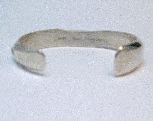 Image 5 of Narrow Jim Harrison Navajo Native American Turquoise Jet Bracelet, 6-1/16